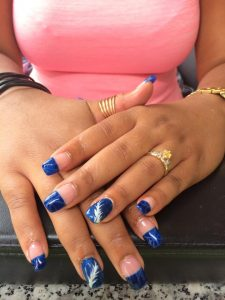 Solar nagels met natural tips en nail art